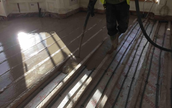 Retrofit in large house in Dalkey Co Dublin. Poured with LiteFlo Lightweight Flowing Screed, ideal for renovation projects where loading is an issue