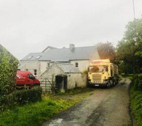 Mobile Screed Factory in Co Kilkenny _Fast floor Screed Alpha Hemihydrate screed in house built circa 1850
