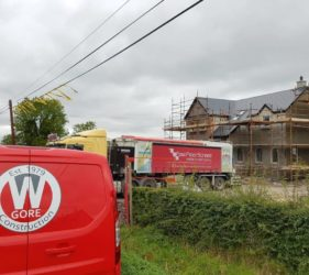Fast Floor Mobile Screed Factory Delivers to Lismullen for W. Gore Construction_flowing screed