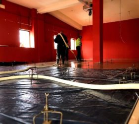 600m2 of CE Certified Alpha Hemihydrate screed_fast Floor Screed_Gym