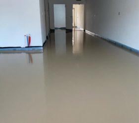 Mobile Screed Factory pump applied Sudanit 280 Alpha Hemihydrate Floor Screed_by Fast Floor Screed Ltd